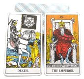 Morte/imperador do cartão do nascimento do tarô ilustração royalty free