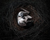 Morte na floresta, menina no ninho Imagens de Stock