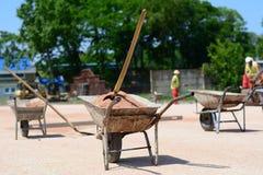 Mortelvagnar på konstruktionsplats Fotografering för Bildbyråer
