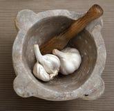 Morter del mortaio di specie dell'aglio Fotografia Stock