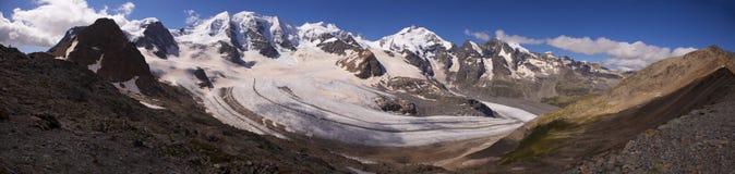 Morteratsch glaciär, Schweiz Arkivfoton