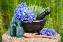 Mortero con los acianos y el sabio azules, frascos con aceite esencial Imagenes de archivo