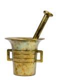 Mortero de cobre amarillo viejo Imagen de archivo libre de regalías