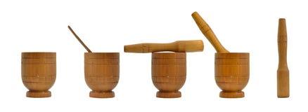 Mortero de madera, artículos de cocina Imágenes de archivo libres de regalías