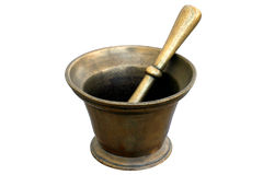 Mortero medicinal de cobre amarillo Foto de archivo libre de regalías