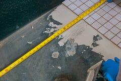 Mortero mojado de extensión antes de aplicar las tejas en trabajador del piso del cuarto de baño usando la medición y el marcado fotografía de archivo
