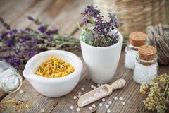 Mortero y cuenco de hierbas curativas secadas y de glóbulos homeopáticos imagen de archivo