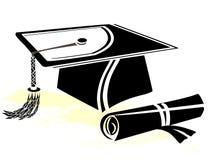 Mortero y diploma de la graduación Imagen de archivo libre de regalías