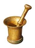 Mortero y maja de cobre amarillo Imagen de archivo