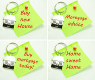 Mortgage. Set of mortgage related post-its with symbolic house keyring Royalty Free Stock Photos