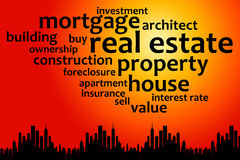 Mortgage. Overview of relevant topics regarding mortgage and real estate Royalty Free Stock Photo