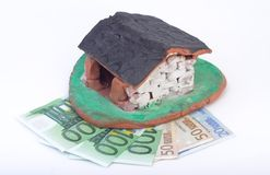Mortgage. Toy house and money stock images