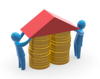 Mortgage. Two persons fixing roof on pile of coins. Concept of saving money or mortgage Stock Image