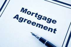 Mortgage Agreement. And pen close up Stock Images