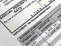 Mortgage Amortization Schedule Stock Photography