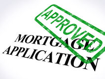 Mortgage Application Approved Stamp Shows Home Loan Agreed. Mortgage Application Approved Stamp Showing Home Loan Agreed Stock Image