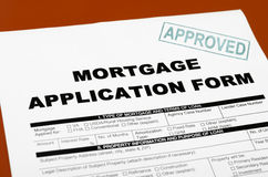 Mortgage Application Form. Shot in the home loan application form has been approved stamp Royalty Free Stock Images