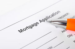 Mortgage application form close up with pen closeup Stock Photos