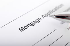 Mortgage application form close up with pen closeup Stock Image