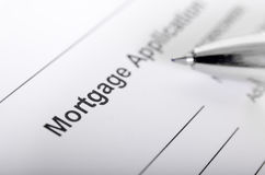 Mortgage application form close up with pen closeup Royalty Free Stock Photography