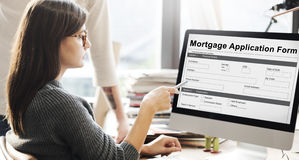 Mortgage Application Form Information Details Concept royalty free stock images