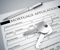 Mortgage application form and key Stock Photo