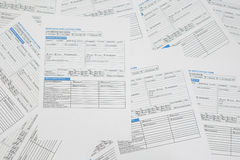 Mortgage application forms. Laid out on table stock images