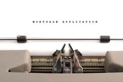 Mortgage Application typed on old typewriter Royalty Free Stock Image