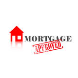 Mortgage Approved House. Mortgage word with approved stamped across it and house icon Stock Photos