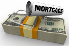 Mortgage as a financial risk. Mousetrap from pack of American dollars with bait in form of sheet with text `MORTGAGE`. . 3D Illustration Royalty Free Stock Photo