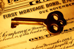 Mortgage Bond. Skeleton key and a Mortgage Bond Certificate Stock Image