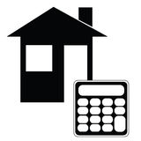 Mortgage calculator. Vector illustration of an icon showing a house and a calculator Stock Image