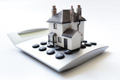 House on calculator mortgage loan calculator royalty free stock photography