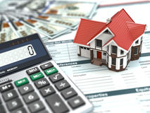 Mortgage calculator. House, noney and document. Stock Image