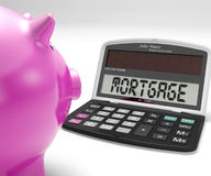 Mortgage Calculator Shows Purchase Of Home Loan Stock Image