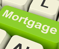 Mortgage Computer Key Showing Online Credit Or Borrowing Stock Photo