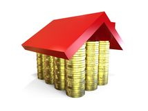 Mortgage concept. 3D render image representing Mortgage in form of a  house with money inside Stock Photography