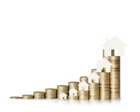 Mortgage concept by money house from  coins Stock Photos