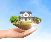 Mortgage concept by money house Stock Image