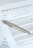 Mortgage Contract. Photo of Mortgage contract with ballpoint pen Stock Photos