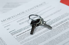Mortgage Contract. Photo of Mortgage contract with ballpoint pen Royalty Free Stock Photo