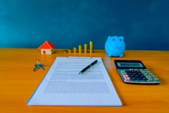 Mortgage contract for sale of real estate property with a pen an Stock Images