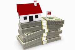 Mortgage Debt. Mountain of mortgage debt concept, comprised of a house on a stack of money, with a foreclosure sign