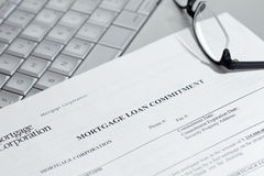 Mortgage document, spectacles and laptop Royalty Free Stock Images