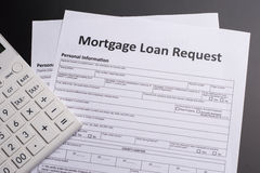 Mortgage Documents. With glasses and pen Stock Images