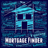 Mortgage Finder Means Home Loan And Borrow Royalty Free Stock Photos