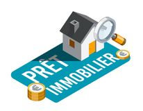 Mortgage in French : Prêt immobilier Stock Images