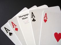 Mortgage Gamble. Poker Aces and a Mortgage card for a gamble Royalty Free Stock Images