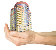 Mortgage. hand with house Royalty Free Stock Photo