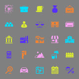 Mortgage and home loan color icons on gray background Royalty Free Stock Images